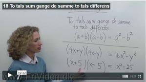 18 To tals sum gange de samme to tals differens